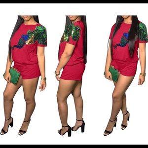 Pants - Red Sequin Detailed Short Set